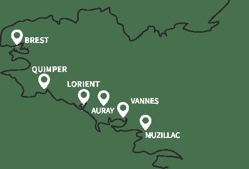 Carte bretagne ouest